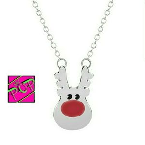 Jewelry - Red nose reindeer necklace, silver